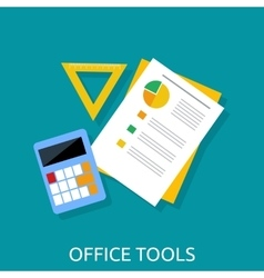 Calculator ruler and paper office tools vector