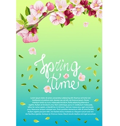Card for text with blooming apple tree vector