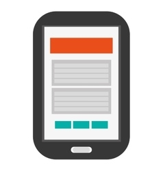 Cellphone with button and webpage on screen icon vector