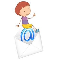 Boy sitting on envelope vector image