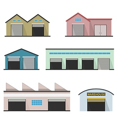 Set of four warehouses storehouse building vector