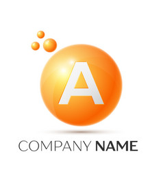 A letter splash orange dots and circle bubble vector