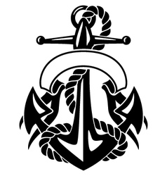 Anchor with Rope and Banner vector image vector image