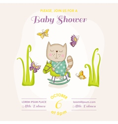 Baby cat on a horse - baby shower or arrival card vector
