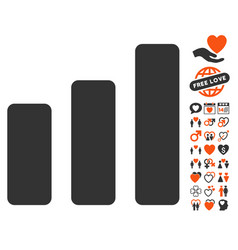 bar chart increase icon with lovely bonus vector image
