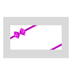 Card with purple bow has space for text vector image