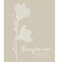 Card with stylized magnolia re vector