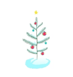 Christmas tree with ball decorations vector image vector image