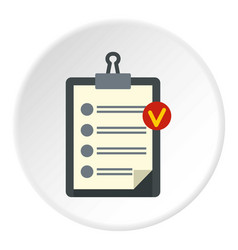 Clipboard with checklist icon circle vector