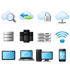 Cloud computing icons vector image vector image