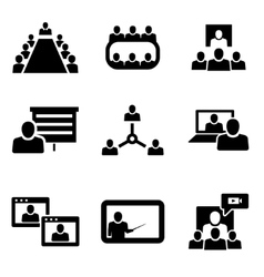 conference icons set Business vector image vector image