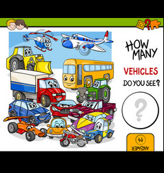 Counting vehicles educational activity vector