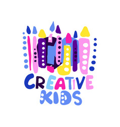 Creative kids logo design colorful hand drawn vector