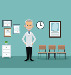 Doctor office practitioner waiting room vector