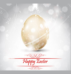 Easter greetings card with golden egg vector