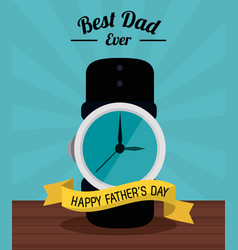 Fathers day card best dad ever clock time ribbon vector