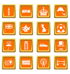 Great britain icons set orange vector