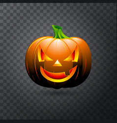 Halloween pumpkin with candle inside happy face vector