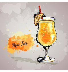 Hand drawn of cocktail mai tais vector image vector image