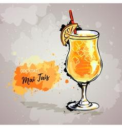 Hand drawn of cocktail mai tais vector