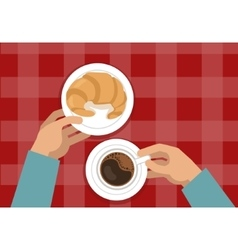 Hands holding croissant and coffee vector