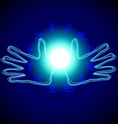 Hands with astrology signs vector image