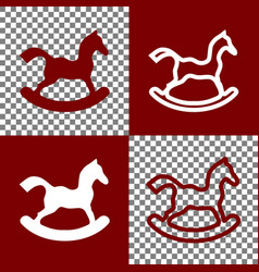 Horse toy sign bordo and white icons and vector