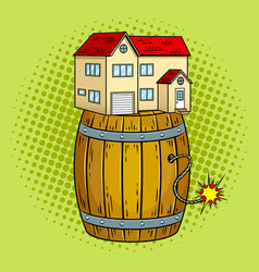 house on powder keg pop art vector image