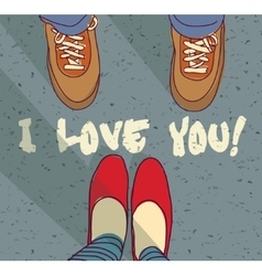 I love you sign young couple card vector image vector image