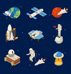 Isometric space elements set vector