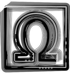Omega striped symbol vector