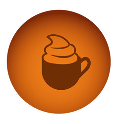 orange emblem cup coffee with cream icon vector image