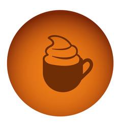 Orange emblem cup coffee with cream icon vector