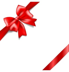 Red bow with a ribbon isolated on white background vector image