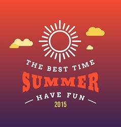 Retro Summer Holidays Vintage Label Design vector image vector image