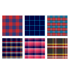 Seamless checkered plaid pattern bundle 1 vector