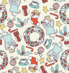Seamless christmas pattern with hand drawn angel vector