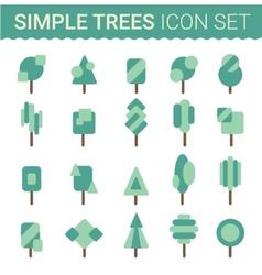Set of flat tree icon vector image