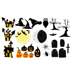 set of graphic elements and symbols for halloween vector image