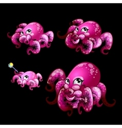 Set pink cute octopuses on a black background vector