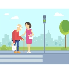 Smiling woman takes care of old man to help him vector