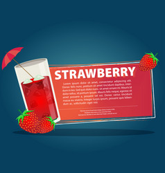 Strawberry cocktail with text banner vector