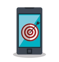 Target arrow with smartphone icon vector
