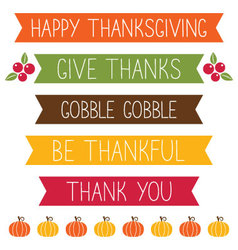 thanksgiving banners set vector image vector image