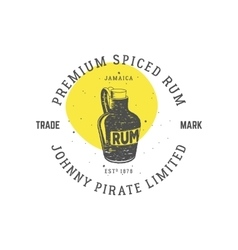 Vintage handcrafted pirate rum emblem alcohol vector image vector image