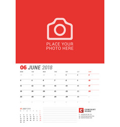 wall calendar planner for 2018 year june print vector image