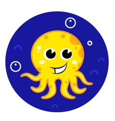 Yellow cartoon octopus in sea water vector image