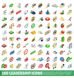 100 leadership icons set isometric 3d style vector image