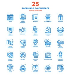 Modern Flat Line Color Icons Shopping and E vector image