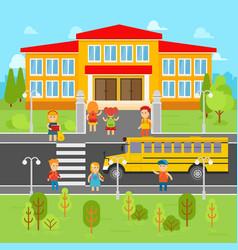 Children go back to school flat vector